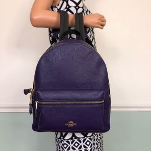 New Coach Leather Medium Charles Backpack Purple